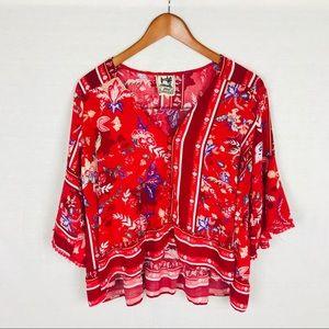 Jaase boho top XL red cropped